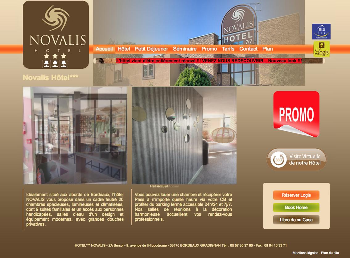 Hôtel Novalis à Bordeaux Gradignan - réalisation du site internet