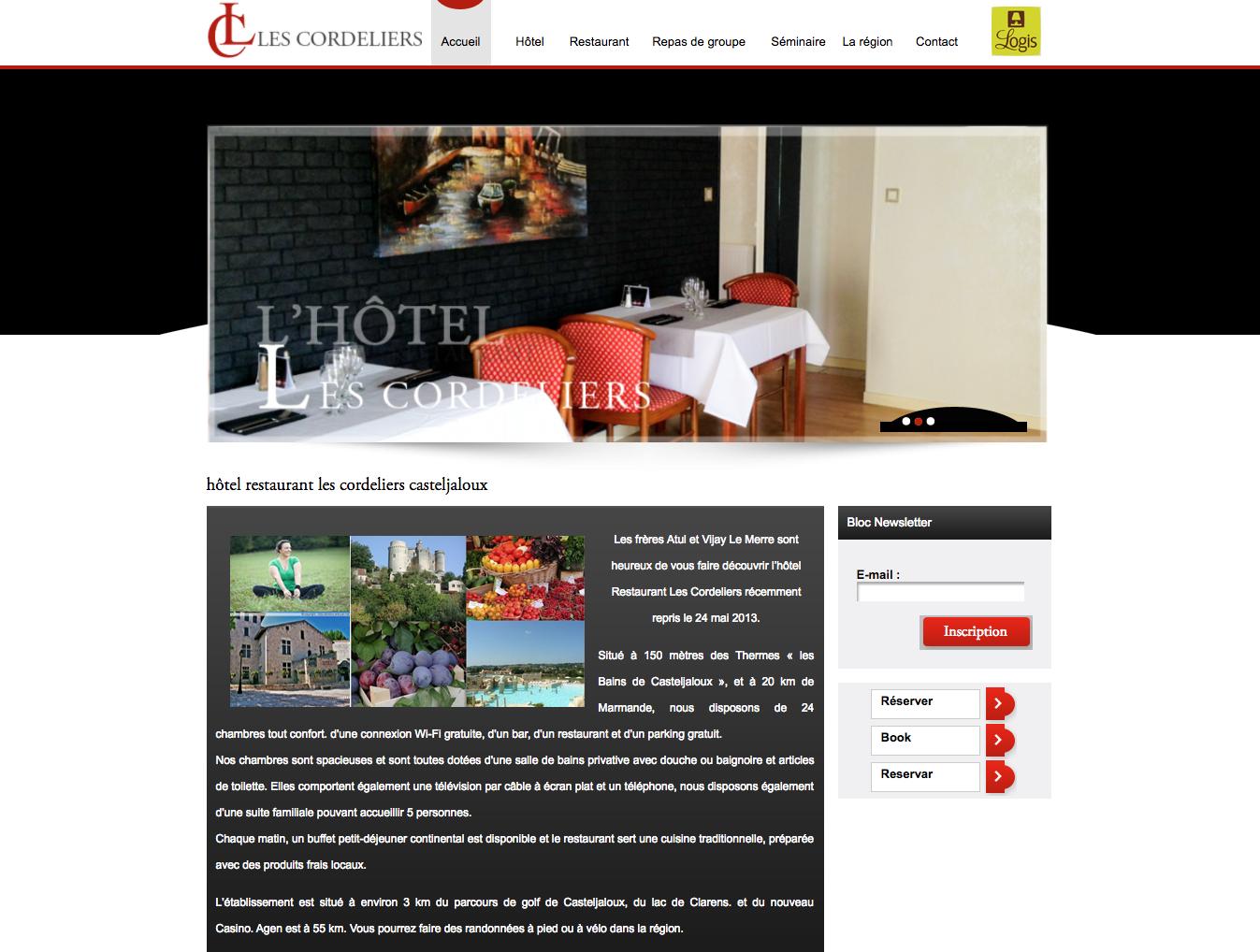 hôtel restaurant les Cordeliers Casteljaloux - Bordeaux - Site vitrine