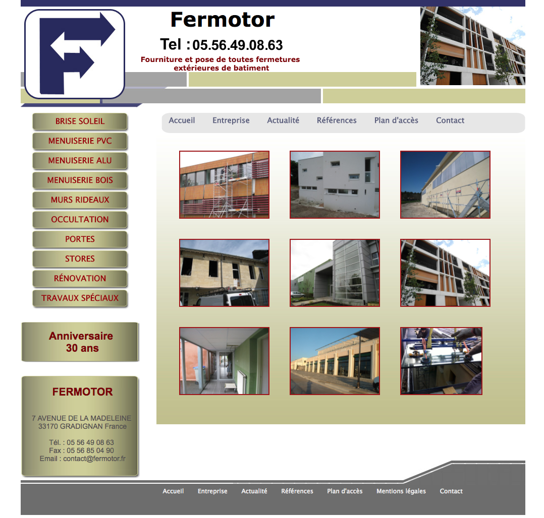 Société Fermotor à bordeaux - réalisation du site internet